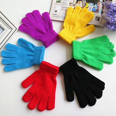 Girls Boys Kids Stretchy Knitted Winter Keep Warm Magic Gloves Randomly