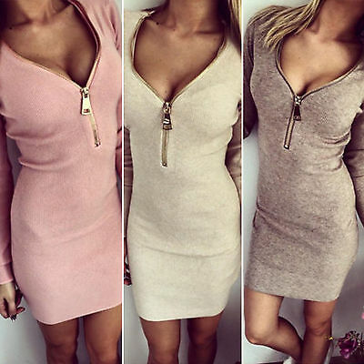 Womens Zipper V Neck Long Sleeve Sweater Winter Bodycon Party Mini Jumper Dress