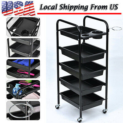 5 Drawers Salon Hairdresser Adjustable Trolley Storage Hair Beauty Coloring Cart