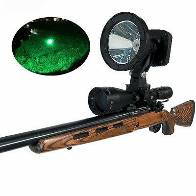 1000lm CREE 10W Green LED Rechargeable 125mm Scope Rifle Mounted Spotlight