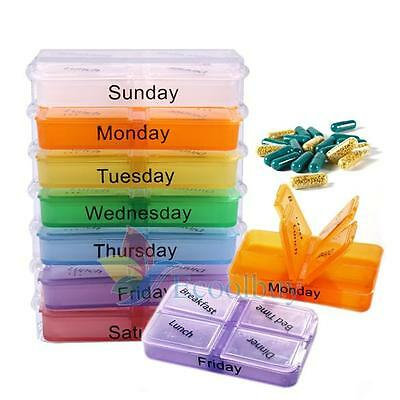 28 Slots 7 Day Tablet Pill Storage Box Weekly Medicine Organizer Container Case