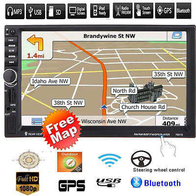 "7"" HD Touchscreen 2 DIN Car GPS Stereo MP5 Player Bluetooth Radio FM/USB/AUX+Map"