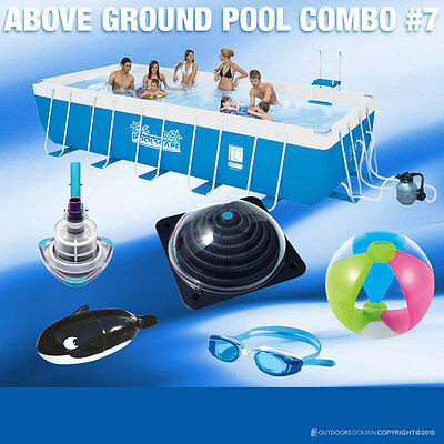 Swimming Pool 9500L Above Ground Rectangle Metal frame 457x212x122cm