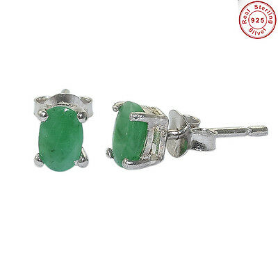 Solid 925 Sterling Silver Natural Emerald Cut Gems Stud Earring Jewellery 6X4MM.