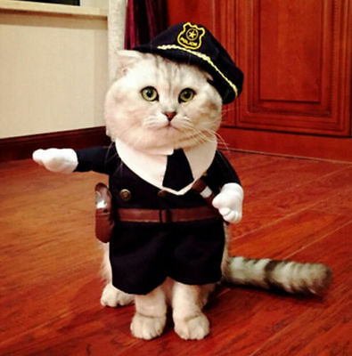 FD5100 Pet Small Cat Dog Police Costume Outfit Jumpsuit Cloth Halloween XS S ♫