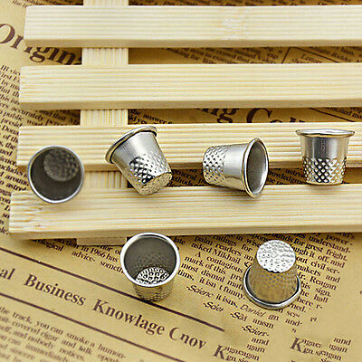 5x in Set Finger Thimble Sewing Grip Hands Metal Shield Protector Needle Silver