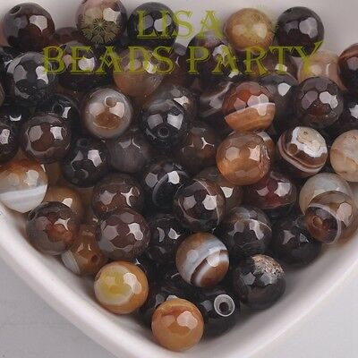 Wholesale 4~12mm Natural Brown Stripped Agate Gemstone Stone Round Loose Beads