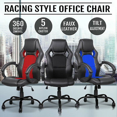PU Leather Overdrive Racing Office Chair- Seat Executive Computer Gaming Deluxe