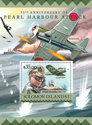 Solomon Islands 2016 MNH WWII Pearl Harbour Attack 1v S/S Aviation Ships Stamps