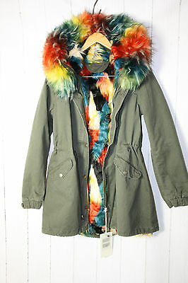 damen parka wintermantel jacke mit kunstfellfutter kapuze bunte fell gr l khaki eur 110 00. Black Bedroom Furniture Sets. Home Design Ideas