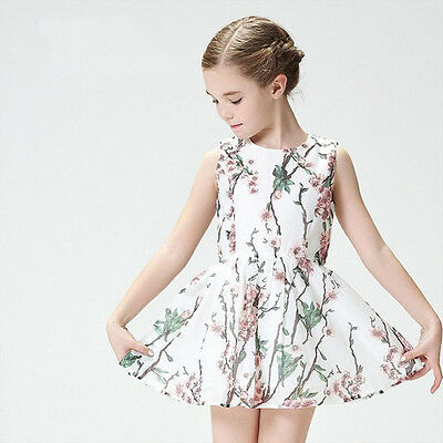 Girls Floral Dress Party Cotton Summer Dress size 1-6 Years