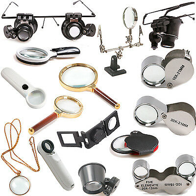 5/10/20/30X Magnifying Eye Loupe Glasses Jewelry Magnifier LED Light