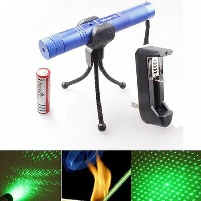 Adjustable Focus 1mw Green Laser Pointer with battery and charger