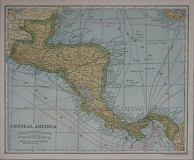 Original 1921 Steamshiip Route Map CENTRAL AMERICA Submarine Telegraph Lines