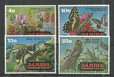 Zambia 1972 Conservation Year 3Rd Issue Sg,177-180 U/m N/h Lot 930A