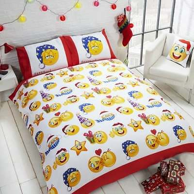 Icons Christmas Emoji Reversible Duvet Cover Set - Xmas Festive Kids - NEW GIFTS