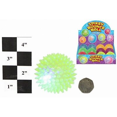 6 x 75mm Light Up Squeaky Spikey Rubber Bouncy Balls 6 Assorted Colours