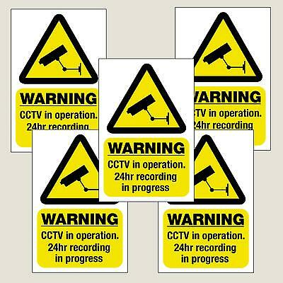5 x Warning CCTV in Operation stickers/sign decal 100mmx150mm Free 1st Class P&P