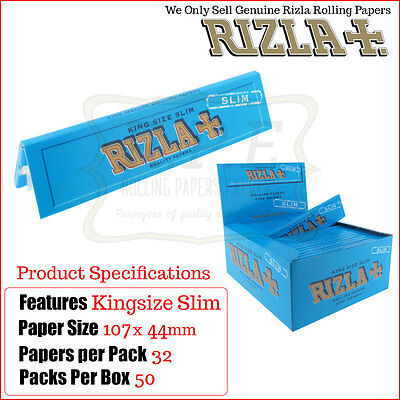 Rizla Blue Kingsize Slim Cigarette Rolling Papers 50 Packets - One Full New Box
