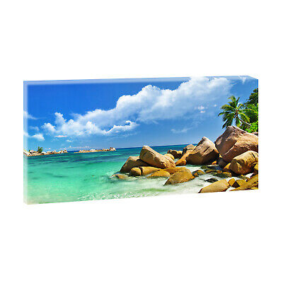 seychellen bild fotoleinwand wandbild meer strand poster xxl 120 cm 40 cm 207 eur 23 90. Black Bedroom Furniture Sets. Home Design Ideas