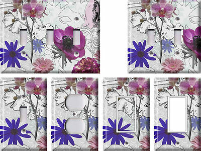 Purple Flowers - Light Switch Covers Home Decor Outlet