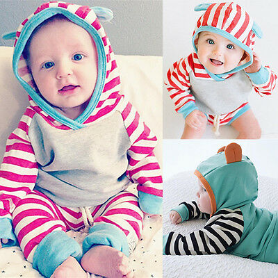 2PCS Kid Baby Girls Sweatshirt Pullover Hooded Coat + Pants Set Clothes Outfit