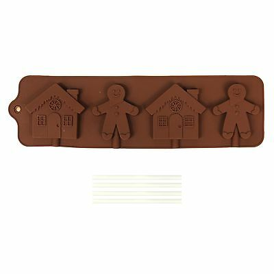 Christmas Silicone Chocolate / Ice Tray Lollipop Lolly Moulds - Gingerbread