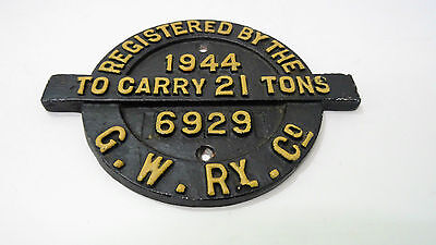 Plaque de Train Wagon Plate Registered By The G.W.Ry Plate 1944