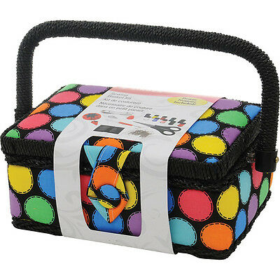 SINGER - Polka Dot Small Sewing Basket with Sewing Kit Accessories -1 Kit