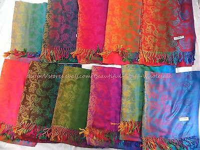 US SELLER-lot of 12 shawl for sale rainbow paisley pashmina scarves viscose