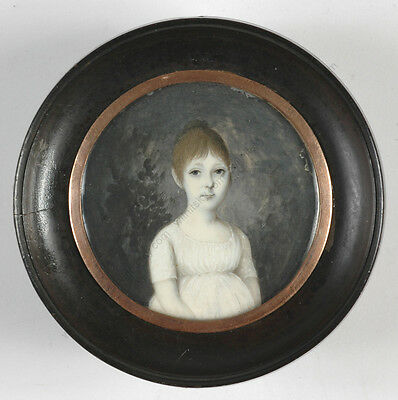"""Portrait of a little girl"", high quality French miniature!!, ca.1800"