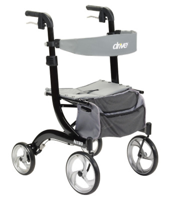 Drive Medical Nitro Euro Rollator Folding Walker Adult 4 Wheels 10266BK *NEW*
