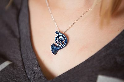 Blue French Horn Necklace, inspired by How I Met Your Mother