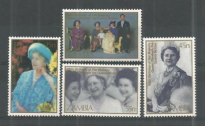 Zambia 1985 Queens Mother Sg,432-435 U/m N/h Lot 954A