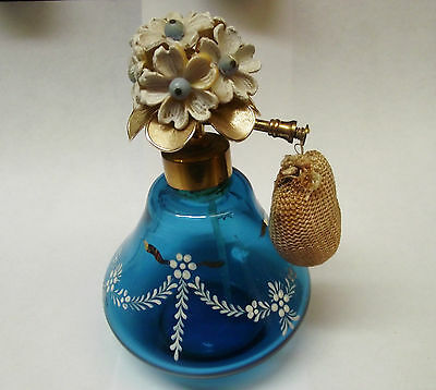 Antique  Vtg.  Perfume Atomizer Teal Blue Enameled Glass  Plastic Flowers Top