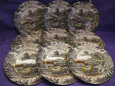 """Yorkshire Staffordshire Ironstone Made in England (9) 7 7/8"""" Salad Plates"""
