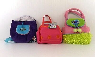 Webkinz Plush Pet Carrier Lot of 3 by Ganz Purple Knapsack Pink One with Code