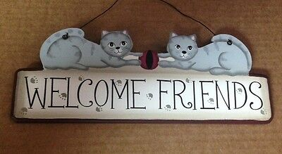 FUNNY wood  Country rustic wood Cat WELCOME FRIENDS  cats decor plaque sign