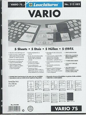 New Vario Stock Sheets 7S Two-Sided Horizontal Pockets Black Pkg. 5