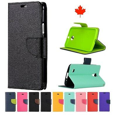 """5.3"""" LG X Power LGK210 Deluxe Wallet Leather Flip w TPU Case Cover Stand canada"""