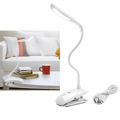 USB Rechargeable LED Light Dimmable Clip-On Desk Table Night Light Reading Lamp