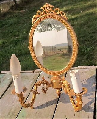 Vintage Double Wall Sconce Ornate  Brass Two-Arm Hollywood Regency Mirror Rare