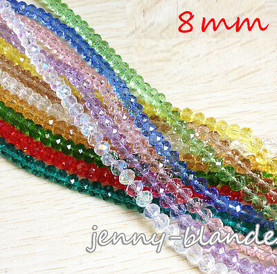 20/50Pcs Faceted Rondelle Glass Crystal Czech Loose Spacer Beads Finding 8mm