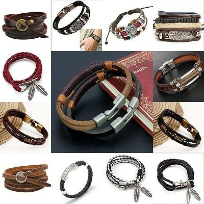 Hot Men's Braided Genuine Leather Stainless Steel Cuff Bangle Bracelet Wristband