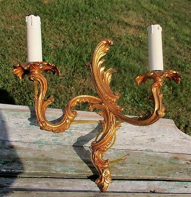 Vintage Ornate  Brass Two-Arm Double Wall Sconce Light Lamp Sleeves
