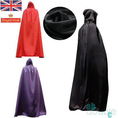 Xmas Party VELOUR HOODED LONG CLOAK ADULT FANCY DRESS COSTUME CAPE WITH HOOD 65""