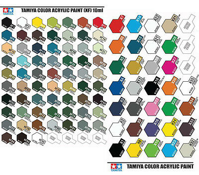 Tamiya Color X1 To X35 Gloss Acrylic & XF1 To XF86 Flat Acrylic Model Paint AU
