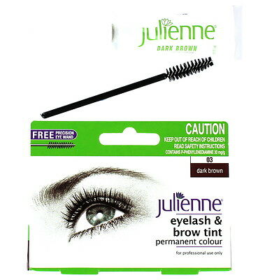 Julienne Permanent Eyelash And Brow Colour Tint With Eye Wand-03 Dark Brown