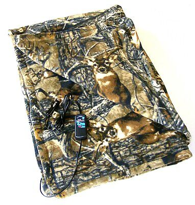 CAMOUFLAGE 12v Electric Heated Travel BLANKET 150x110cm c/w Timer VC13NC0001