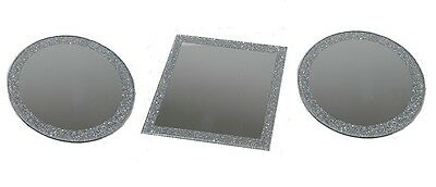 Set Of 3 Round & Square Glass Mirror Plates Candle Holders With Glitter 10cm